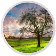 The Old Apple Tree At Dawn Round Beach Towel