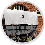 The Old Army Wagon Round Beach Towel