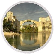 The Old Bridge At Mostar Round Beach Towel