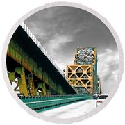 The Old Bridge Hwy 190 Mississippi River Bridge Baton Rouge Round Beach Towel