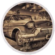 The Old Cadillac  Round Beach Towel