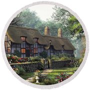 The Old Cottage Round Beach Towel
