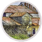 The Old Cotton Barn Round Beach Towel by Barry Jones