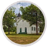 The Old Country Church Round Beach Towel