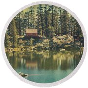 The Old Days By The Lake Round Beach Towel