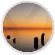 The Old Dock At Sunset Round Beach Towel