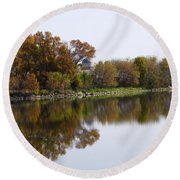 The Old Fishing Hole  Round Beach Towel