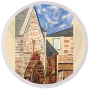 The Old French Mill Watercolor Art Prints Round Beach Towel