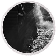 The Old Grist Mill - Black And White Round Beach Towel
