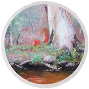 The Old Gum By The Creek Round Beach Towel