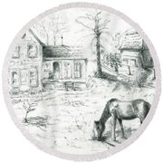 The Old Horse Farm Round Beach Towel