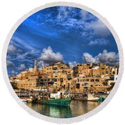 the old Jaffa port Round Beach Towel by Ron Shoshani