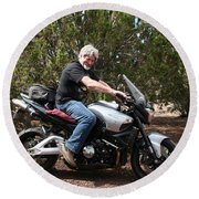 The Old Man On The Motorcycle Round Beach Towel