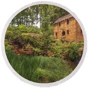 The Old Mill And Pond Round Beach Towel