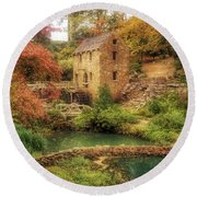 The Old Mill In Autumn - Arkansas - North Little Rock Round Beach Towel