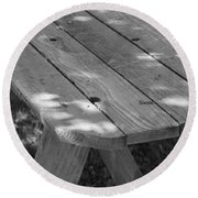 The Old Picnic Table Round Beach Towel