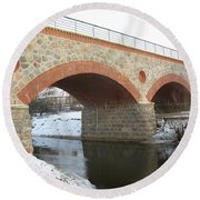 The Old Railway Bridge In Silute. Lithuania. Winter Round Beach Towel