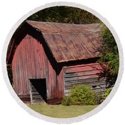 The Old Red Barn Round Beach Towel