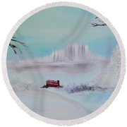 The Old Red Barn In Winter Round Beach Towel