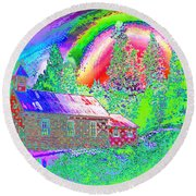 The Old Schoolhouse Library Again Round Beach Towel