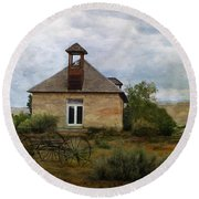 The Old Shell Schoolhouse Round Beach Towel