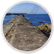 The Old Shipyard Pier Round Beach Towel