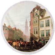The Old Smithfield Market Round Beach Towel by Thomas Sidney Cooper