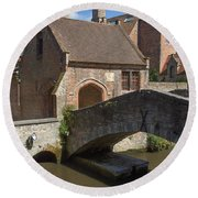 The Old Stone Bridge In Bruges Round Beach Towel