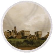 The Old Sugar Mill At Koloa Round Beach Towel