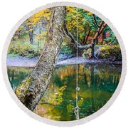The Old Swimming Hole Round Beach Towel