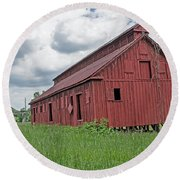 The Old Abandon Tobacco Barn Round Beach Towel