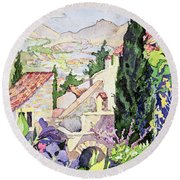 The Old Town Vaison Round Beach Towel