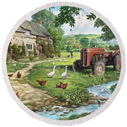 The Old Tractor Round Beach Towel by Steve Crisp
