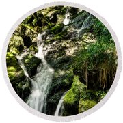 The Old Troll Caught By The Sun Admiring The Forest Waterfall Round Beach Towel