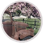 The Old Truck And The Crab Apple Round Beach Towel