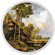 The Old Windmill Near Barbizon Round Beach Towel