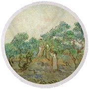 The Olive Orchard Round Beach Towel