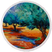 The Olive Trees Dance Round Beach Towel