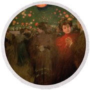 The Open Air Party Round Beach Towel by Ramon Casas i Carbo