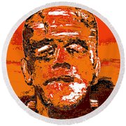 The Orange Monster Round Beach Towel