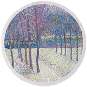 The Orchard Under The Snow  Round Beach Towel by Hippolyte Petitjean