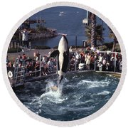 The Original Shamu Orca Sea World San Diego 1967 Round Beach Towel