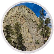 The Other Side Of Devils Tower Round Beach Towel
