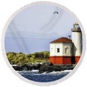 The Other Side Of The Coquille River Round Beach Towel