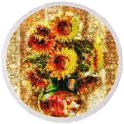 The Other Sunflowers Round Beach Towel