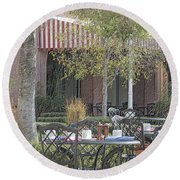 The Outdoor Cafe Round Beach Towel