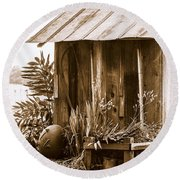 The Outhouse Round Beach Towel