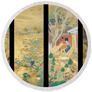 The Outskirts Of Kyoto Throughout The Season Round Beach Towel