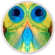 The Owl - Abstract Bird Art By Sharon Cummings Round Beach Towel