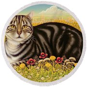 The Oxford Cat Round Beach Towel